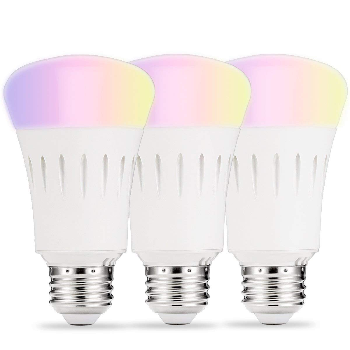 LOHAS Smart Lighting LED Light Bulbs A19 Dimmable Daylight White Ambiance Lights, Multicolored WiFi LED Smart Bulb, 60W Replace Smartphone Voice Control Lighting Compatible with Alexa, UL Listed 3Pack