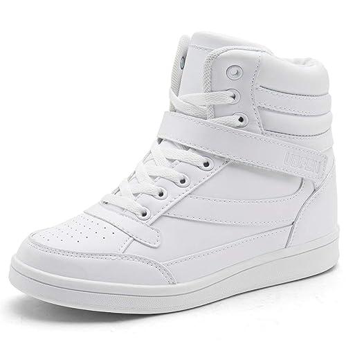 233bb29f40 UBFEN Scarpe da Donna Stivali Tacco Interna Alte Sneakers Scarpe con Zeppa  Strappo Stealth Stivaletti Ginnastica Sportive Polacchine