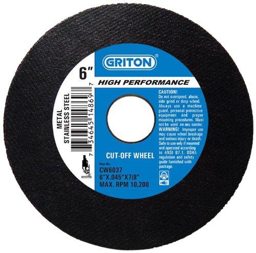 Pack of 50 7//8 Hole Diameter 6 Diameter 0.045 Width Pack of 50 7//8 Hole Diameter Griton Industries 0.045 Width Griton CW6037 Arbor Industrial Cut Off Wheel for Stainless Steel and Metal 6 Diameter
