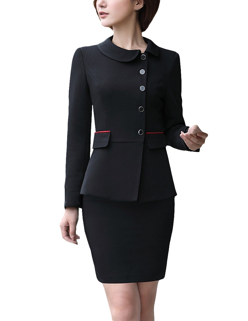 MFrannie Women Single Breasted Slim Fit Suit Jacket and Skirt 2 Piece Set Black M