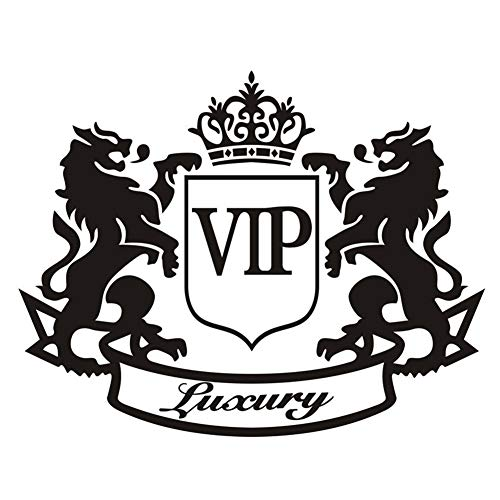 Double Lion Crown VIP Letter Motorcycle Car Decoration Reflective Decal Sticker for Car DIY Use - Black