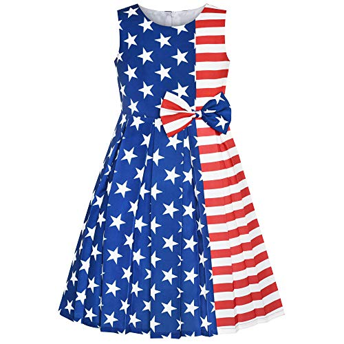 Girls Dress American Flag National Day Party Dress Size 7
