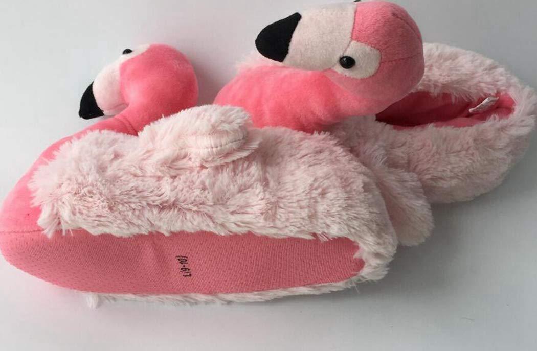 Nafanio Flamingo Women Slippers Cotton Winter Indoor Floor Shoes Lovely Swing Plush Lady Girls Flats