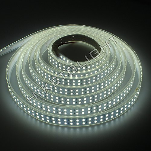 HIKETOLIGHT DC12V 5M Double Row 1200LEDs SMD2835 White Color Waterproof IP67 Flexible Strip for Holiday Decoration and Party Decoration