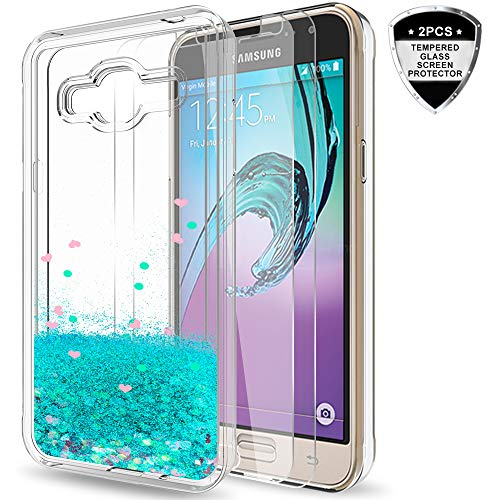 Galaxy J3 V/Sky/Amp Prime/Express Prime/ J3 (2016) 6/ Sol Case with Tempered Glass Screen Protector [2 Pack],LeYi Girls Glitter Liquid Clear TPU Protective Case for Samsung J3V ZX Turquoise