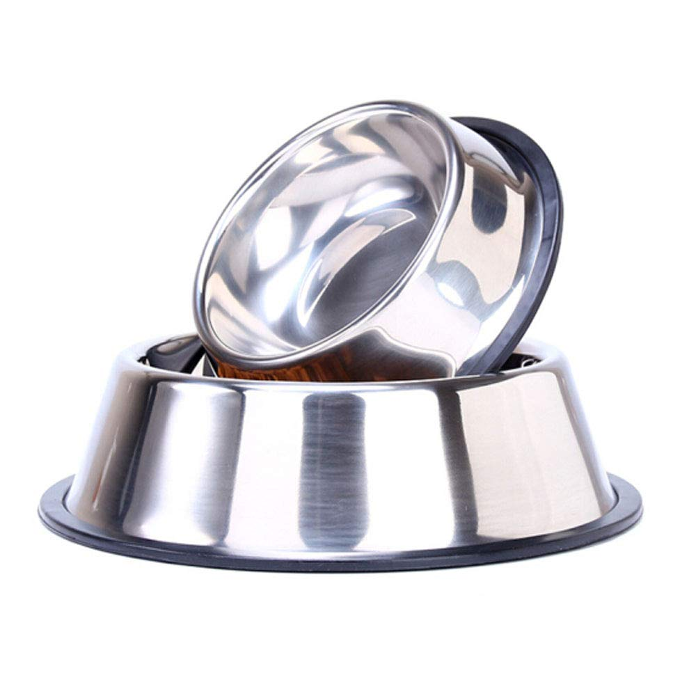 10.47.22.8 XIAN Stainless Steel Dog Bowl, Rubber Base Suitable for Large, Medium and Small Dogs, Dog Feeding Bowl and Water Bowl Perfect Choice (Single Bowl) Easy to Clean Non-Skid Bowls for Dogs
