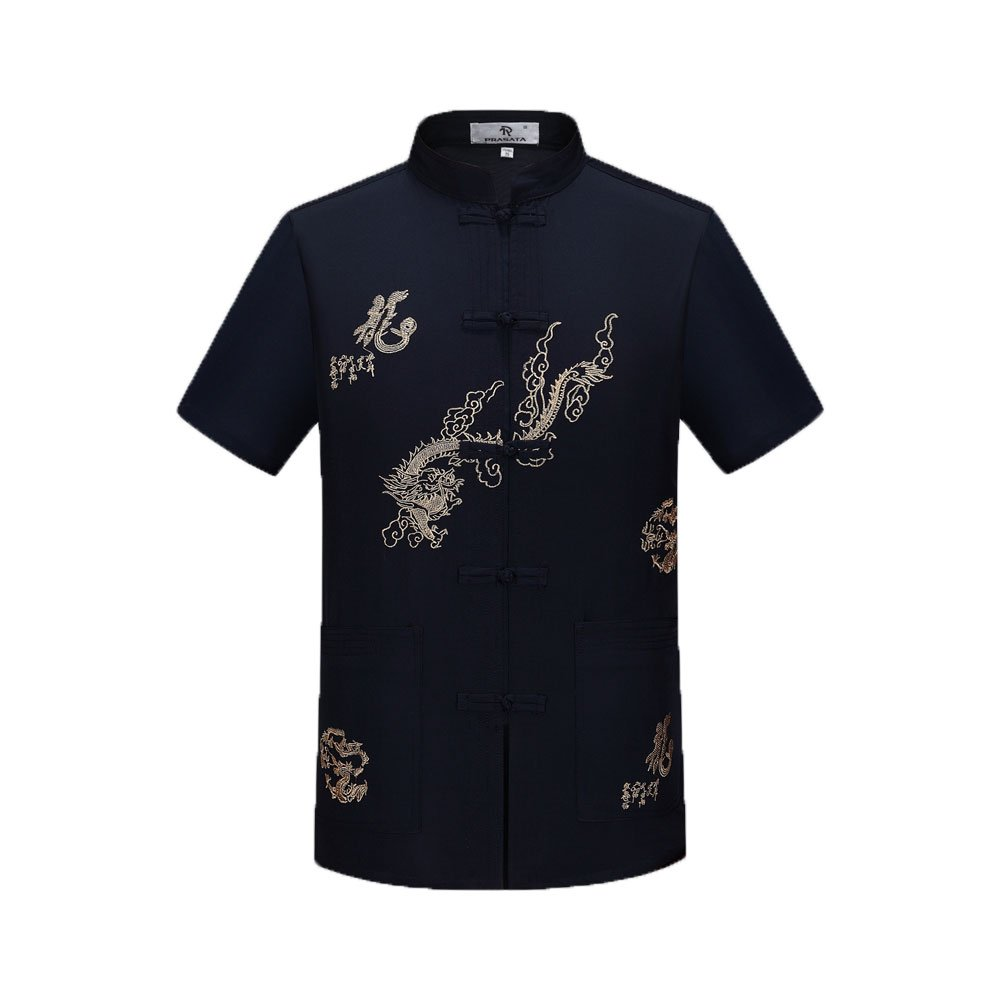Tang Suit Men Traditional Chinese Clothing Suits Hanfu Cotton Short sleeve shirt coat Mens Tops (XL, Navy Blue)