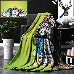 Ralahome Unique Custom Digital Print Flannel Blankets Clock Decor A Group Alarm Clocks On The Wooden Ground Digital Print Nostalgic D Super Soft Blanketry Bed Couch, Throw Blanket 60 x 50 Inches