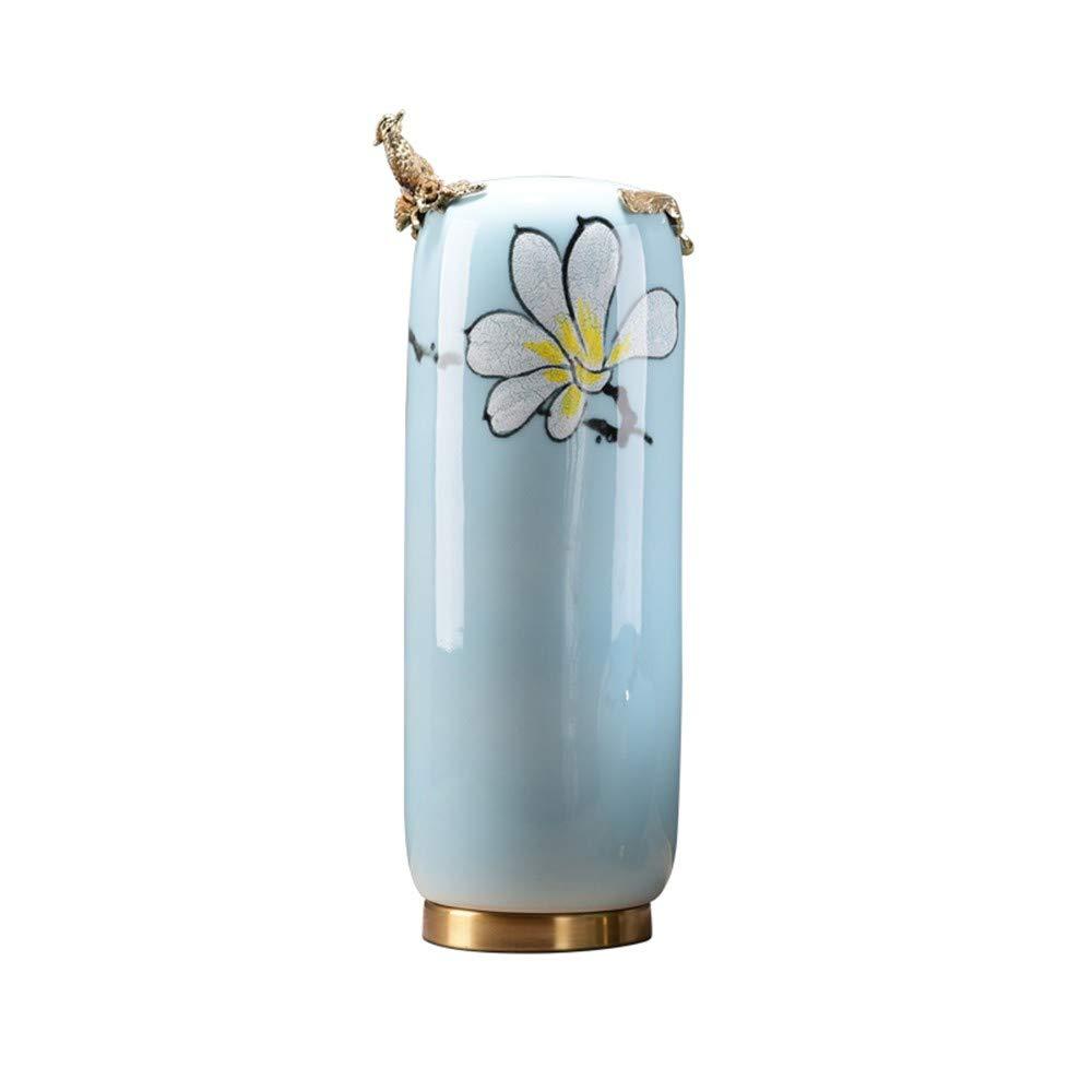 GAOLI Vase Büro Vitrine Dekoration Moderne Hauptdekoration Restaurant Keramik Dekoration Vase Blumen-Blau