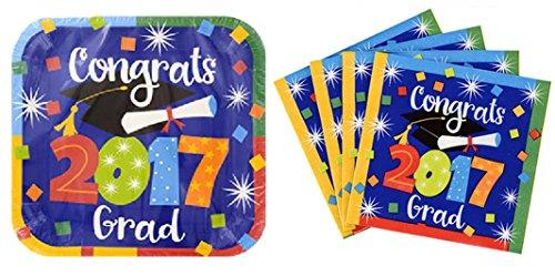 Colorful Congrats Grad 2017- Plates and (Preschool Graduation Ideas)