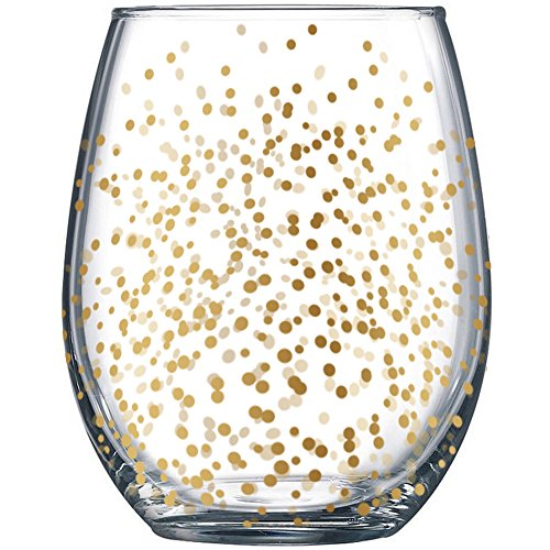 Gold Dots Stemless Wine Glasses (4pk) Holiday Drinking Cups 19oz by Fine - Dot Glasses