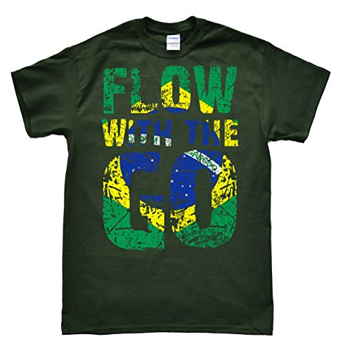 Stooble Men's Brazilian Jiu Jitsu BJJ Flow Forest Green T-Shirt, Size L