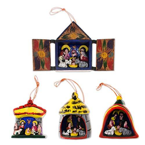 NOVICA Decorative Religious Wood and Ceramic Hanging Holiday Ornament, Assorted, Nativity' (Set of 4)