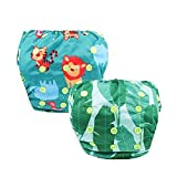 2pcs Reusable Baby Swim Diaper Washable Swimming Nappies with Adjustable Snaps Swimwear for Newborn Infant Unisex