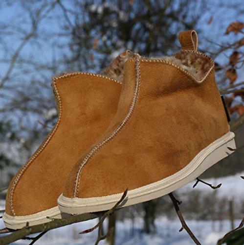 Chaussures de Marron sur Merino Laine Hollert Cendrillon 100 Chaussures Chaussons Premium Peau de Mouton Leather Femme Peau avec Mouton xnw1F4gq