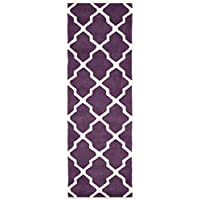 Safavieh Chatham Collection CHT735F Handmade Purple and Ivory Premium Wool Runner (23 x 11)