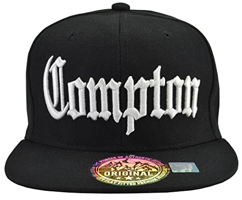 Incrediblegifts Compton Snap Back Black Hat White Embordered,One Size]()
