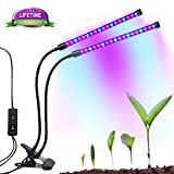 Upgraded Led Grow Light Tiyeebuy 18W Dual Head Plant Growing Lamp Dimmable 2 Levels Brightness Double Switch Adjustable Flexible 360 Degree Gooseneck for Indoor Plants Hydroponics Greenhouse Gardening For Sale