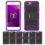 iPhone 8 Plus/7 Plus Stand Case, HLCT Rugged Shock-Proof PC + Silicone Dual-Layer Case with Built-in Kickstand (Purple)