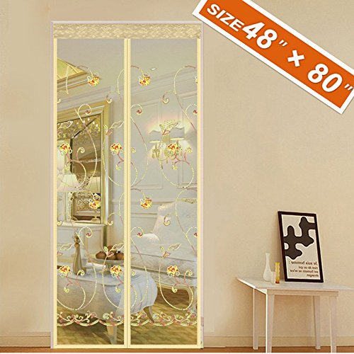 spritech-embroider-flower-style-screen-magnetic-door-48-back-door-screen-fit-doors-size-up-to-46w-x-79h-max-with-full-frame-velcro-door-privacy-mesh-magnet-keep-mosquito-fly-bug-out