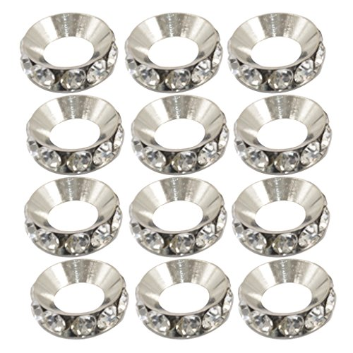 MagiDeal 12x Silver Tone Rondelle Glitter Rhinestone Spacer Beads with 7mm Big Hole