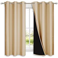 NICETOWN Bedroom Full Blackout Curtain Panels, Super Thick Insulated Grommet Drapes, Double-Layer Blackout Draperies…