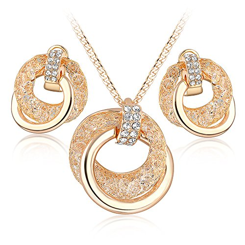 Mytys Rose Gold Jewelry Set Double Ring Fishnet CZ Pendant Necklace and Earrings for Women ()