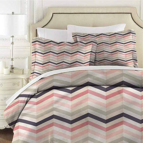 Geometric Comforter Bedding Set Shabby Retro Style Zigzag King (104x90 inches) - 3 Pieces (1 Duvet Cover + 2 Pillow Shams) - Ultra Soft and Breathable Comforter Cover