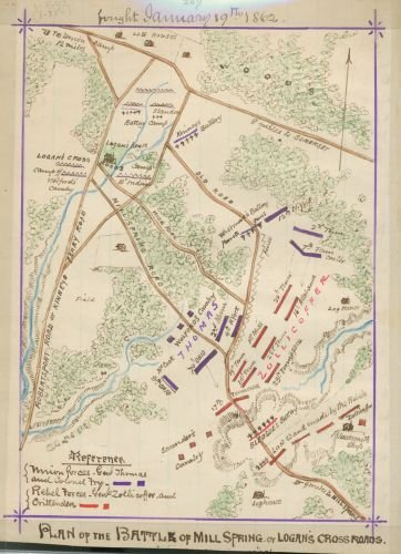 1862 Map Plan of the battle of Mill Spring or Logan's Cross Roads : fought January 19th, 1862. - - Mills Directions Arizona