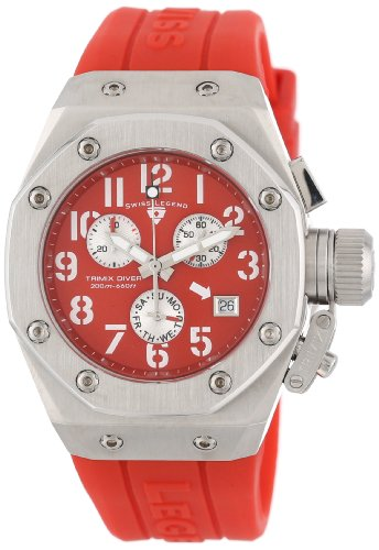 Swiss Legend Women's 10535-05 Trimix Diver Chronograph Red Dial Red Silicone Watch by Swiss Legend