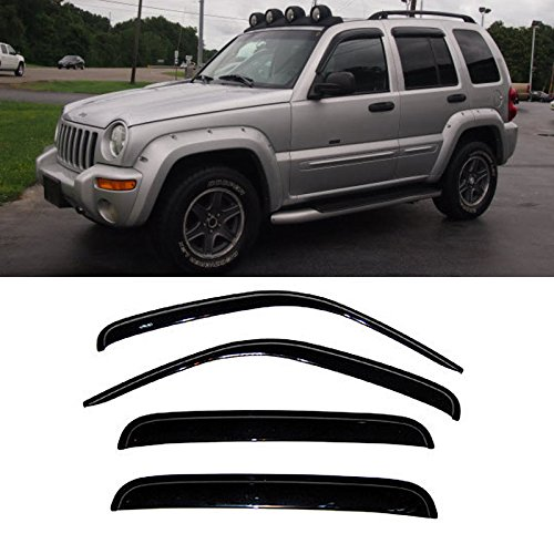 Gldifa Wind Deflector For 2002-2007 Jeep Liberty Sun/Rain Guard Vent Shade Window Visor 4pcs