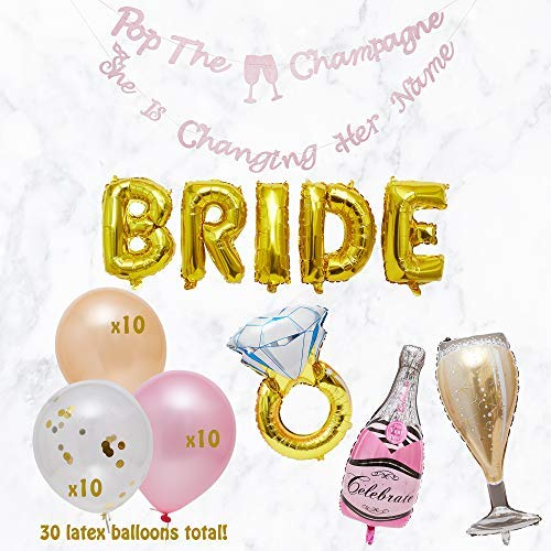 VEANU PARTY SUPPLIES- Bachelorette Party Decorations | Bridal Shower Supplies | Bride + Ring foil Balloons, Champaign foil Balloon Set, Gold Confetti Balloons, Shinny Rose Gold Banner | Pink Balloons