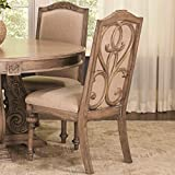 A Line Furniture La Bauhinia French Antique Carved Wood Design Dining Chairs (Set of 2)