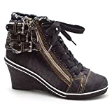EpicStep Women's Black Vintage Casual Denim Zip Lace Up High Tops High Heels Wedges Shoes Fashion Sneakers 7 M US