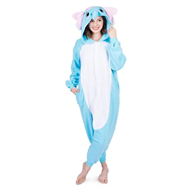 Emolly Fashion Adult Elephant Animal Onesie Costume Pajamas For Adults And Teens Small Blue