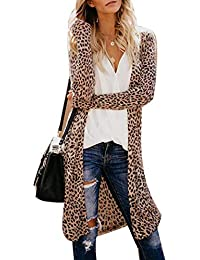 Women Long Sleeve Camouflage Cardigan Tops Casual Leopard Printed Loose Outwear Trench Cardigans Coats,S-2XL