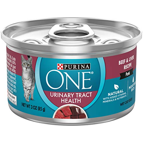 Purina ONE Urinary Tract Health, Natural Pate Wet Cat Food, Urinary Tract Health Beef & Liver Recipe – (24) 3 oz. Pull-Top Cans