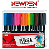 Pincel Brush Aquarela e Brilhante Newpen Com 16