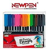 Pincel Brush Aquarela e Brilhante Newpen Com 16