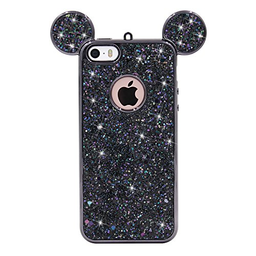 iPhone SE Case, MC Fashion Super Cute Sparkle Bling Bling Glitter 3D Mickey Mouse Ears Soft and Protective TPU Rubber Case for iPhone 5/5S/SE (Black) (Iphone 5s Case Cute Bling)