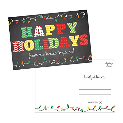 50 Chalkboard Holiday Greeting Cards, Cute Fancy Blank Winter Christmas Postcard Set, Bulk Pack of Premium Seasons Greetings Note, Happy New Years for Kids, Business Office or Church Thank You Notes Photo #1