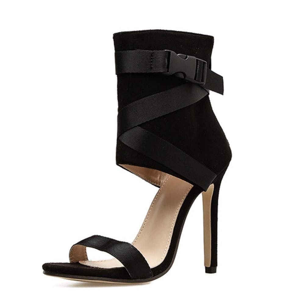 Noir EGS-chaussures Bouche de Poisson Poisson en Croix avec Un Talon Super Fin et Un Talon Haut Chaussures de Cricket (Couleur   Noir, Taille   37)  en ligne au meilleur prix