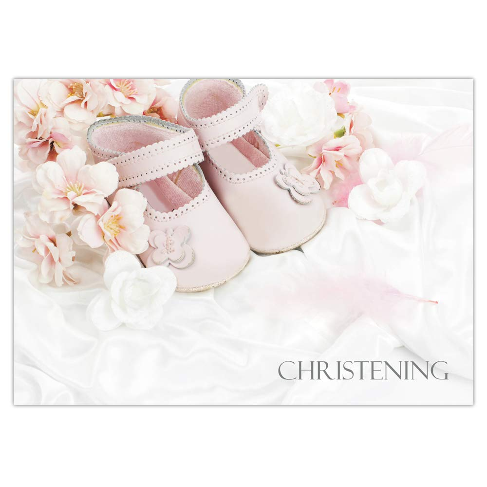 Christening Invitations - Girls Pink Shoes - Pack of 10 The Card Gallery