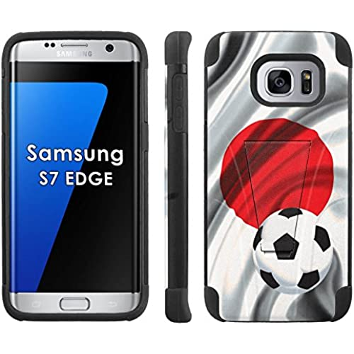 Samsung Galaxy S7 Edge /GS7 EDGE Phone Cover, Japan Flag with Soccer Ball - Black Armor Kick Flip Grip Phone Case Sales