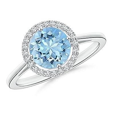 Angara Floating Diamond Halo Aquamarine Cathedral Ring in White Gold 0NV5POL