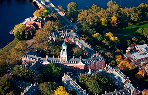 Cambridge, Massachusetts - Aerial View of Eliot House Clock Tower, Harvard - Photography A-93083 (9x12 Art Print, Wall Decor Travel Poster)