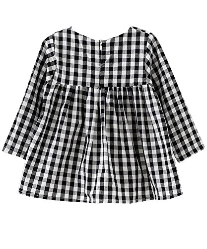 Little Girls High Waist Plaid Dress Black White Long Sleeve Spring Fall Playwear Size 110 (4T) Black Plaid by DeerBird (Image #6)