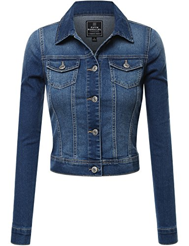FPT Womens Cropped Denim Jacket MEDIUM WASH 3X-LARGE