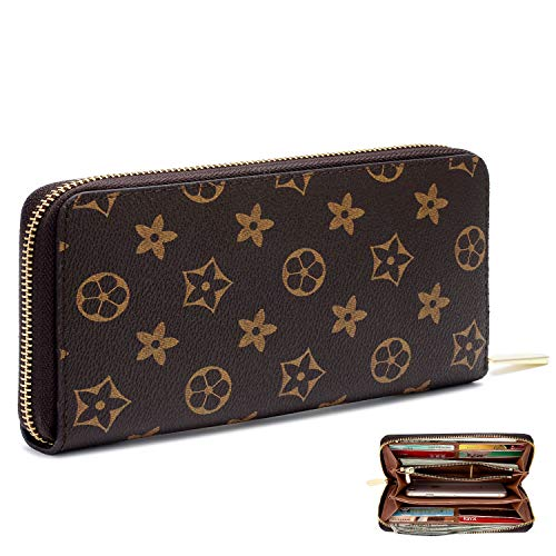 Women's Checkered Zip Around Long Wallet and Phone Clutch - RFID Blocking with Card Holder(Brown Flower)