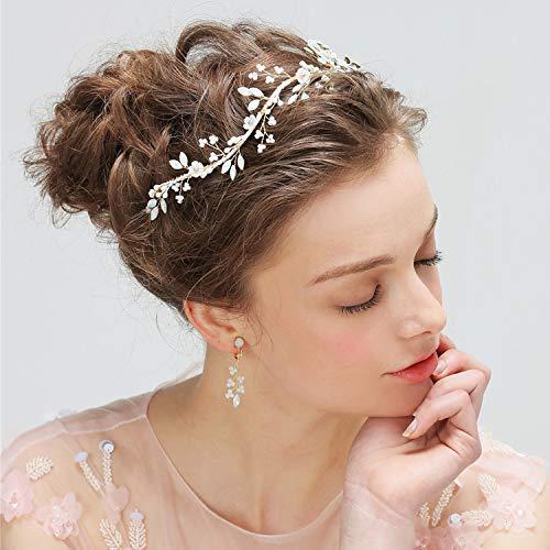 (Bride Bridesmaid Wedding Party Bridesmaid Bridesmaids Pearl Hair Band Headband Bridal Hair Vine Opal Beads Earrings Suit Women Headdress Wedding)